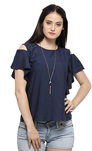 1099f23ed50e4a Serein Women s Top (Navy Crepe top with Cold Shoulder and Ruffles) (Medium)