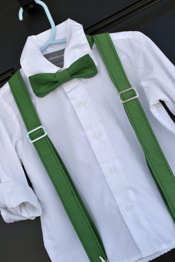 Clover Green Bowtie & Suspender Set - Baby / Toddler / Child (www.idresstothrill.com
