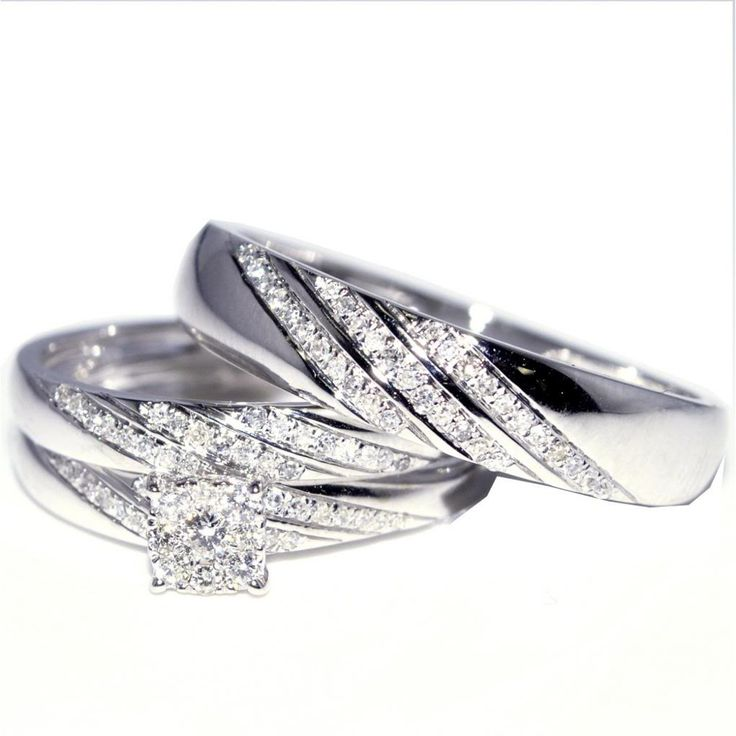 Spectacular His and Her Trio Wedding Rings Set cttw w K Gold Mens ring mm