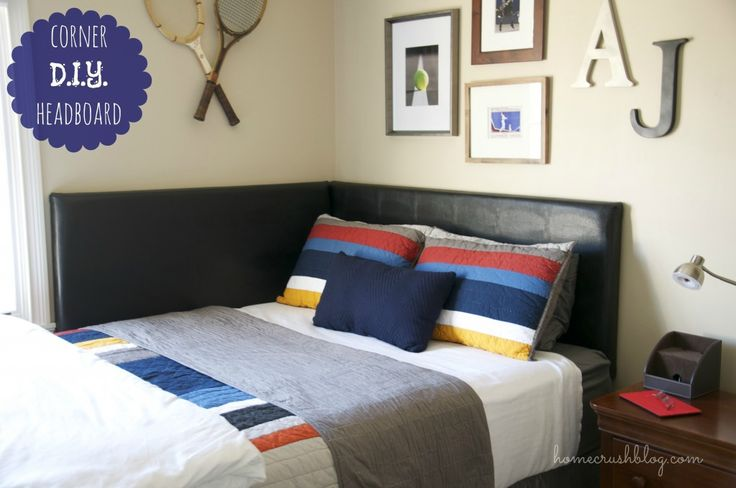 DIY corner headboard -- so cozy and perfect for our small guest room