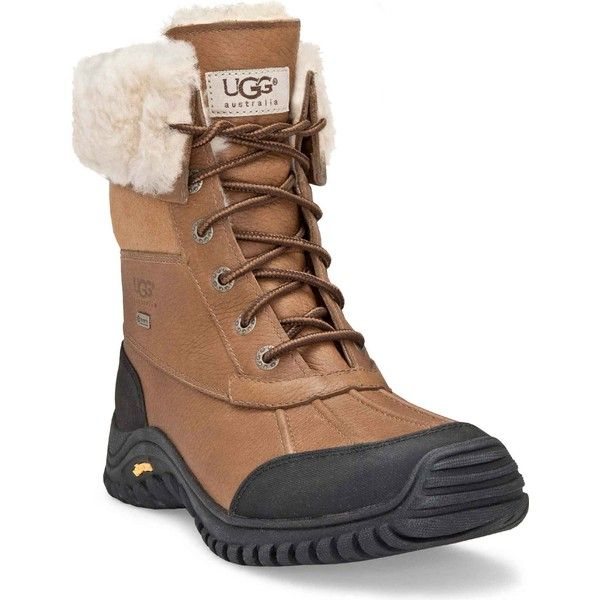 UGG Australia Women's Adirondack Boot II Otter Snow Boots ($225) ❤ liked on Polyvore featuring shoes, boots, ankle boots, water proof snow boots, sheepskin lined boots, pointy ankle boots, snow boots and waterproof shoes