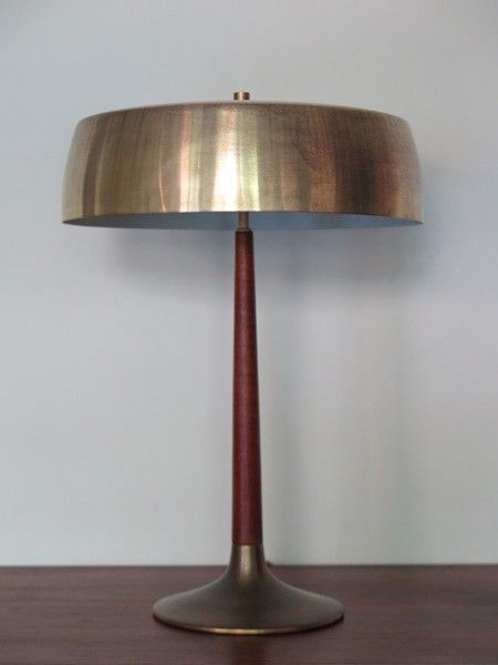 Holm sørensen teak and brass table lamp 1950s