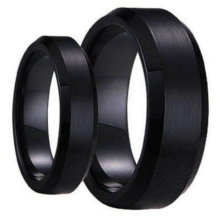 His and Her's Matching Set 6mm / 8mm Black Brushed Center with Polished Edge Tungsten Carbide Wedding Band Set >>> You can get additional details at the image link.