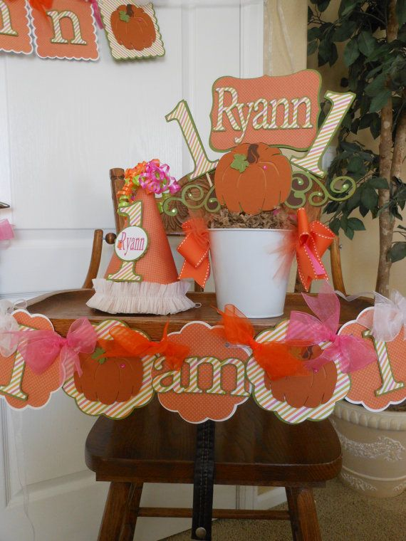 items similar to girls little pumpkin ultimate birthday party package fall birthday decorations thanksgiving birthdaybanner centerpiece invitations on - Halloween Birthday Decorations
