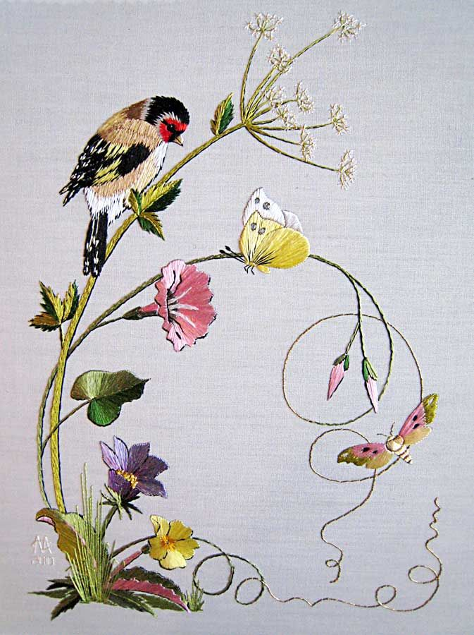 Spring - Embroidered by Margaret Cobleigh; Designed by Helen Stevens