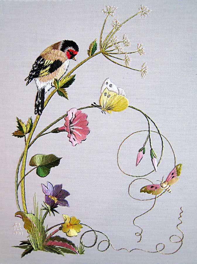 Spring - Embroidered by Margaret Cobleigh; Designed by Helen Stevens