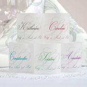 Teelichter mit Namen - in pink und türkis