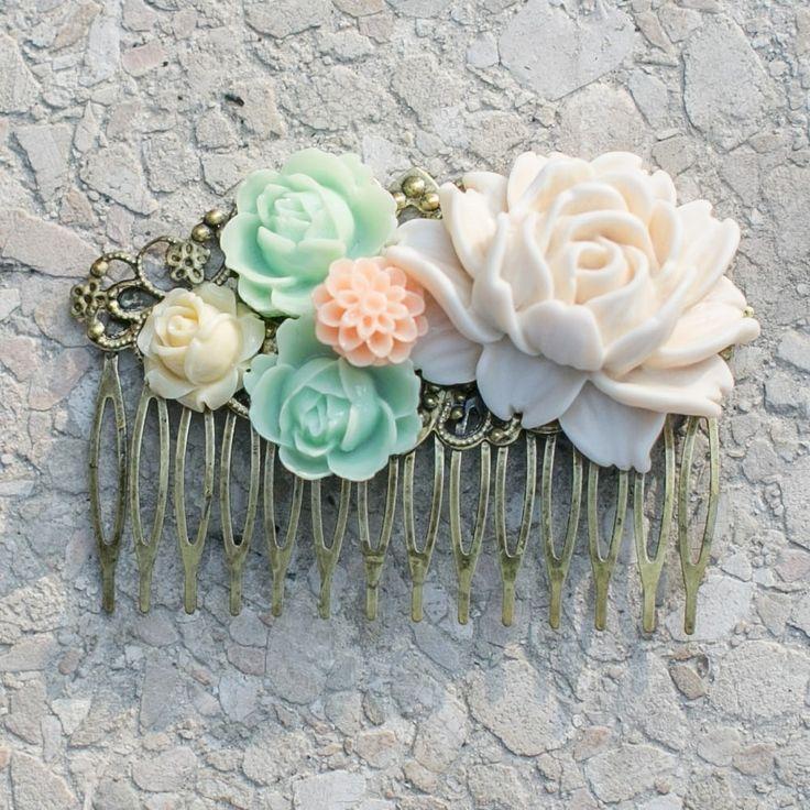 barrette peigne grand modle fleurs pastels accessoire cheveux mariage accessoires coiffure par save - Accessoir Mariage