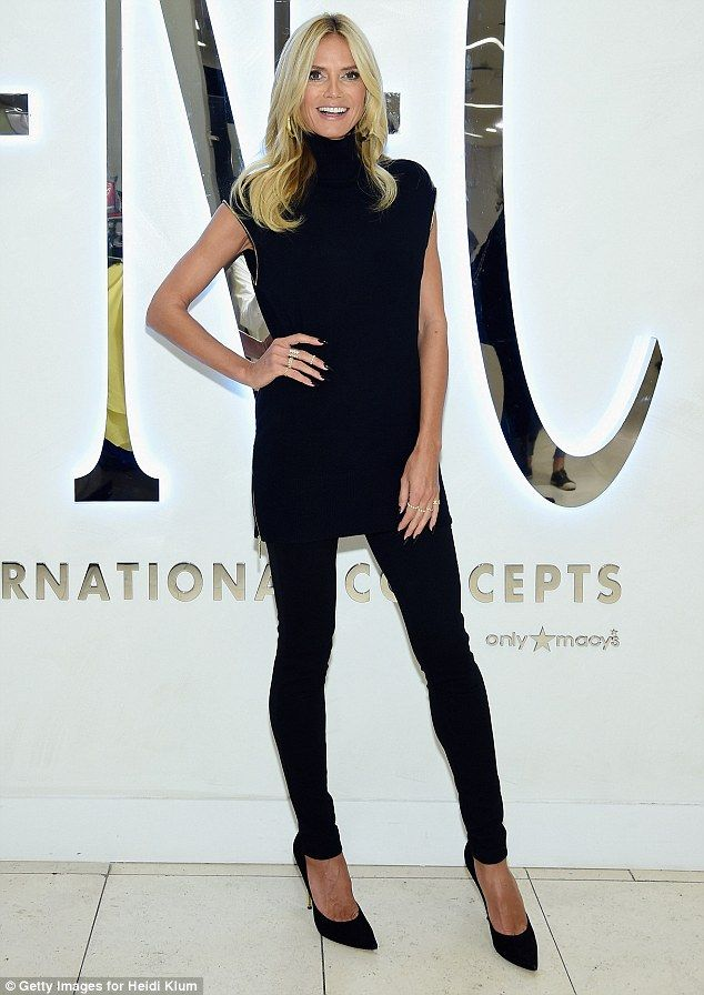 Effortlessly chic: Heidi Klum is the30th anniversary ambassador for Macy's INC International Concepts brand and she arrived at the New York flagship store to promote the line on the first day of the city's Fashion Week