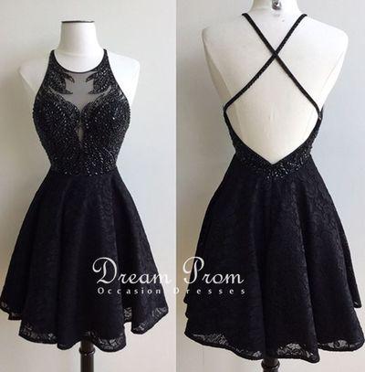 Stylish black lace beading short prom dress, homecoming dresses