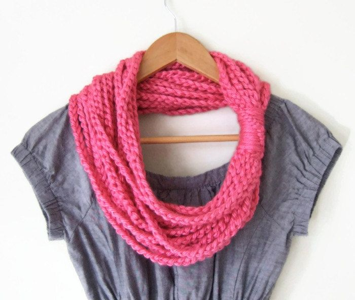 Neon Pink Scarf .. Knit Chain Scarf .. Scarf Necklace by DottieQ, $26.00