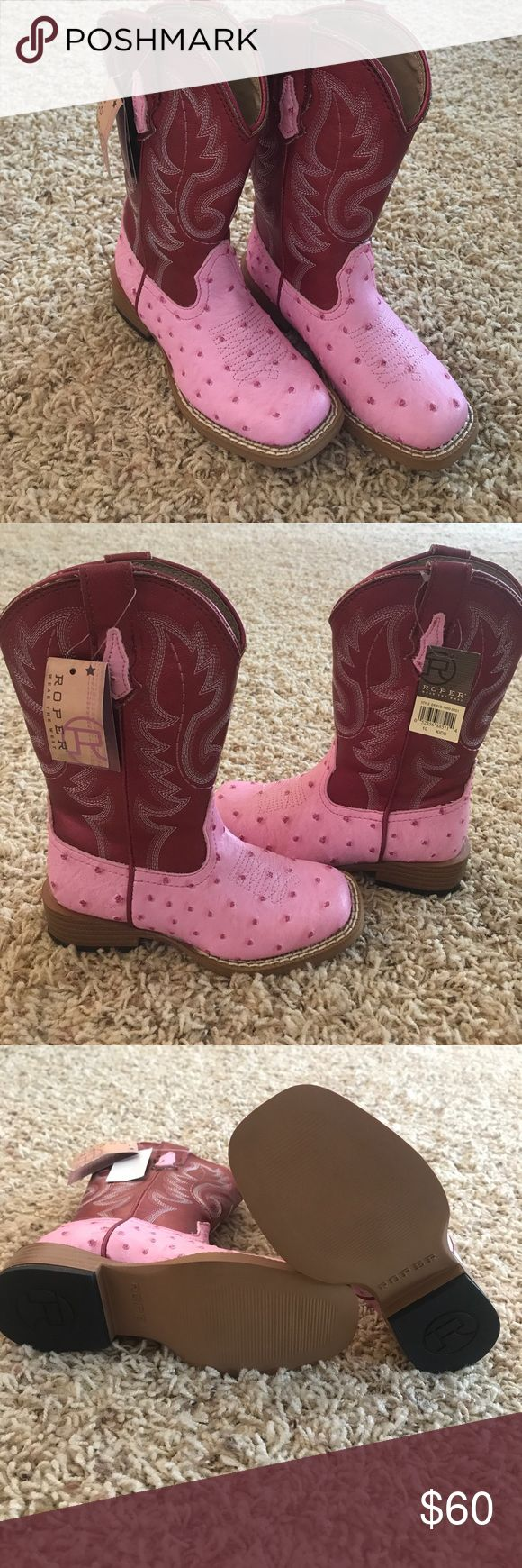 Kids Justin Roper boots Brand new kids boots!! Given as a gift and wrong size so never worn. Pink ostrich bottoms with red tops. Justin Boots Shoes Boots