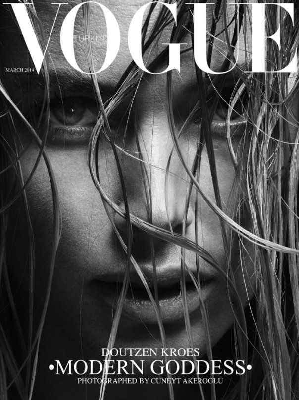 Doutzen Kroes by Cuneyt Akeroglu for Vogue Turkey March 2014 _  So powerful. It's a very up close shot so it's unusually striking