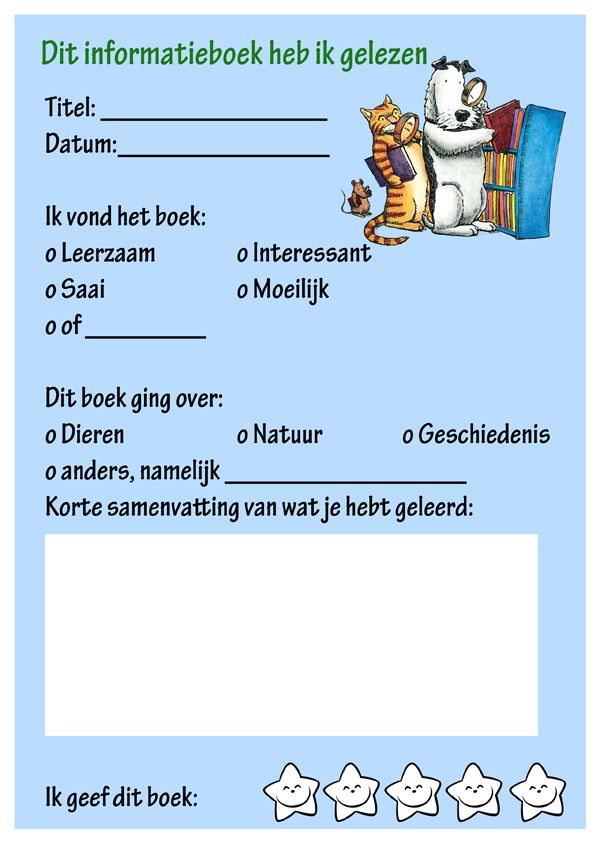 invulblad infoboek