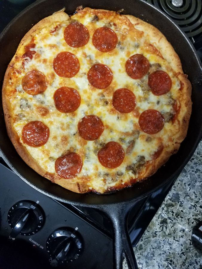 Lazy cast iron skillet deep dish pizza                                                                                                                                                                                 More
