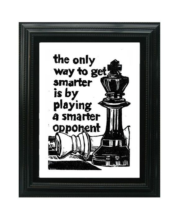 LINOCUT PRINT Chess Pieces with Smarter Opponent by WordsIGiveBy