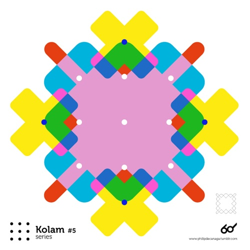 Kolam Series #5  www.philipdecanaga.tumblr.com  A Kolam is a geometrical line drawing composed of curved loops, drawn around a grid pattern of dots in South india.