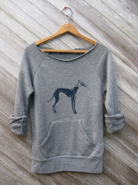 I WANT THIS!!!! Grey or Charcoal... that's the question     supa fly Greyhound Sweatshirt Dog Sweater SMLXL by nicandthenewfie, $36.00