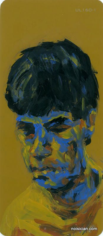 """""""Boy in Blue"""" by Jeff Wrench. Acrylic on paint chip."""