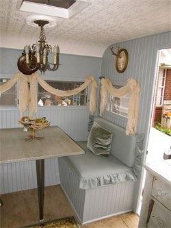 Dining area of camper.