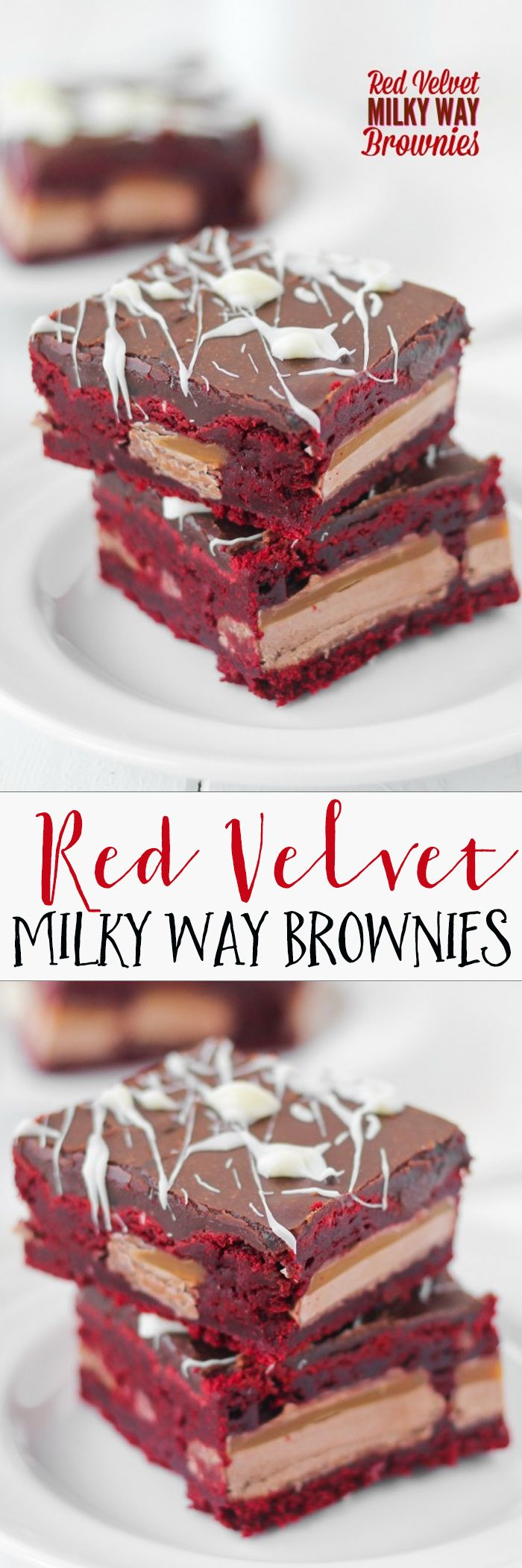 Red Velvet Milky Way Brownies -- dense, fudgy, with a gooey center and fudge frosting. Pin for Valentine's Day dessert.