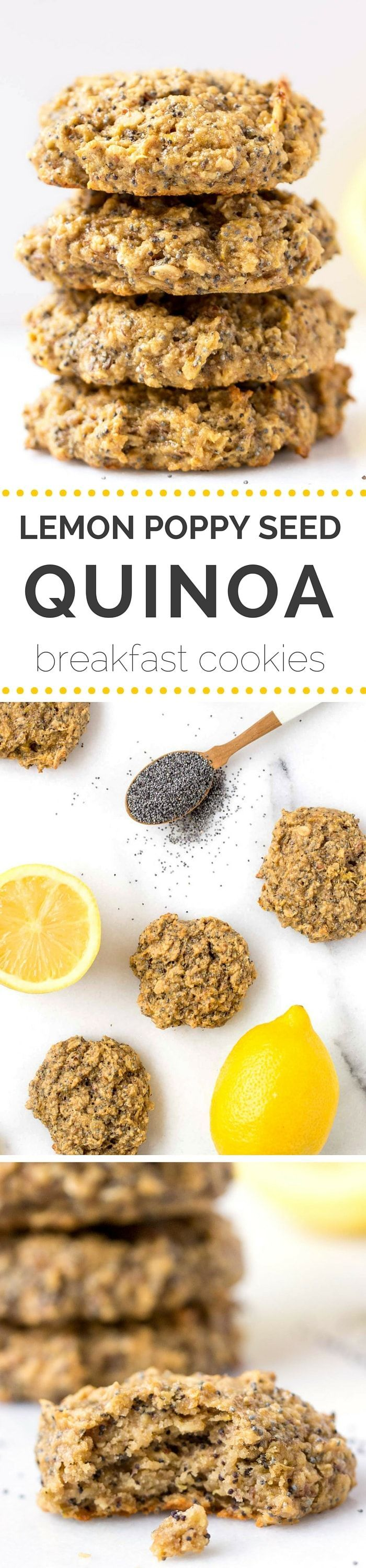 Lemon Poppy Seed Quinoa Breakfast Cookies!! They're simple, healthy, delicious and SO FLAVORFUL!