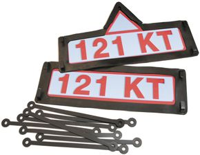 Black Rubber Trade Plate Holder with Triangle