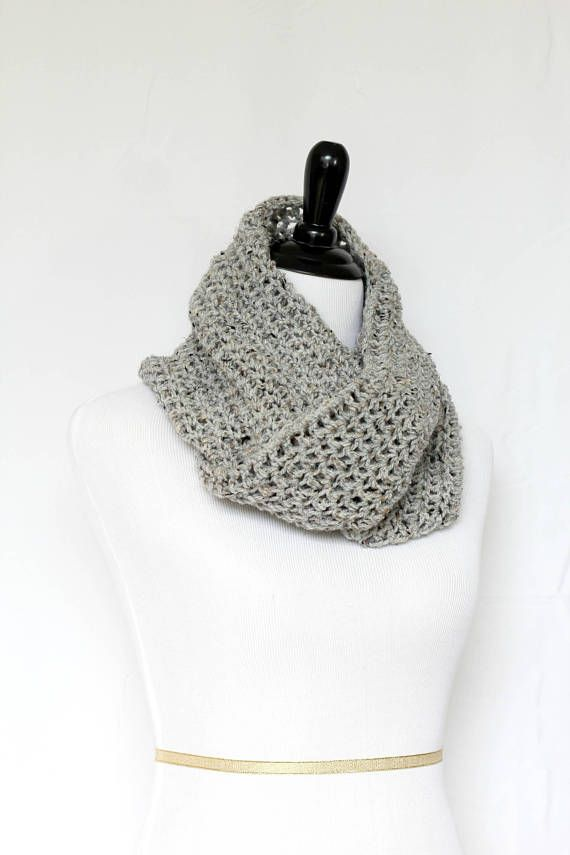 This crochet cowl scarf is a cozy addition to any modish fall/winter wardrobe.  It's made with Premium Acrylic yarn in a light grey color, which is very soft and hypoallerg... #kgthreads #neckwarmer #homespunsociety
