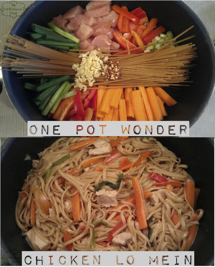 •1/2# chicken breast cubed  •12oz linguini broken in half  •4 carrots  •1 red bell pepper  •1 bunch green onions  •4 cloves garlic minced  •1/4 C soy sauce  •1 t garlic powder  •1 t corn starch  •1 T sugar  •1/2 t red pepper flakes  •4 C chicken broth  •1/2 C water  •2 t olive oil