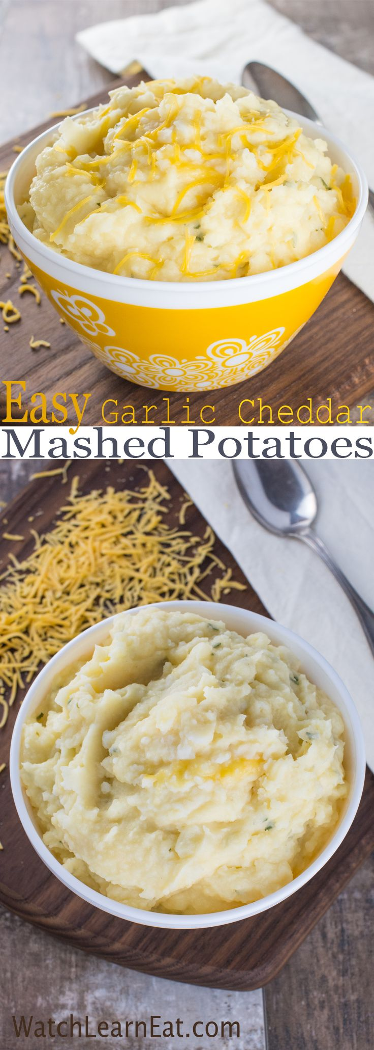 These Easy Garlic Cheddar Mashed Potatoes are garlicky, cheesy and super simple to make - a perfect side dish for busy nights.