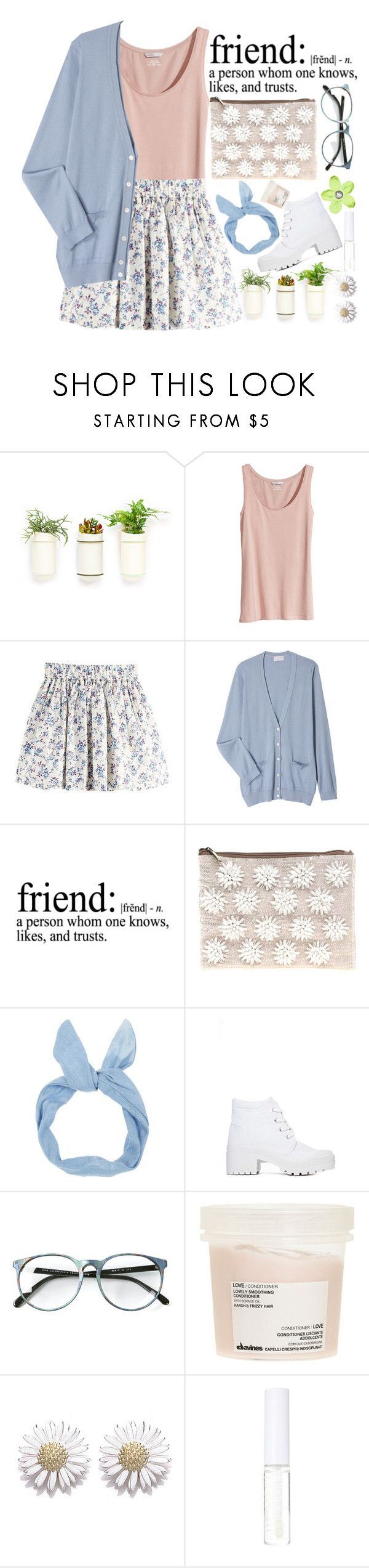 """""""Friend"""" by missixtyme ❤ liked on Polyvore featuring H&M, Margaret Howell, WALL, ASOS, Dirty Laundry, Davines, Daisy Jewellery, Lord & Berry, Pink and GREEN"""