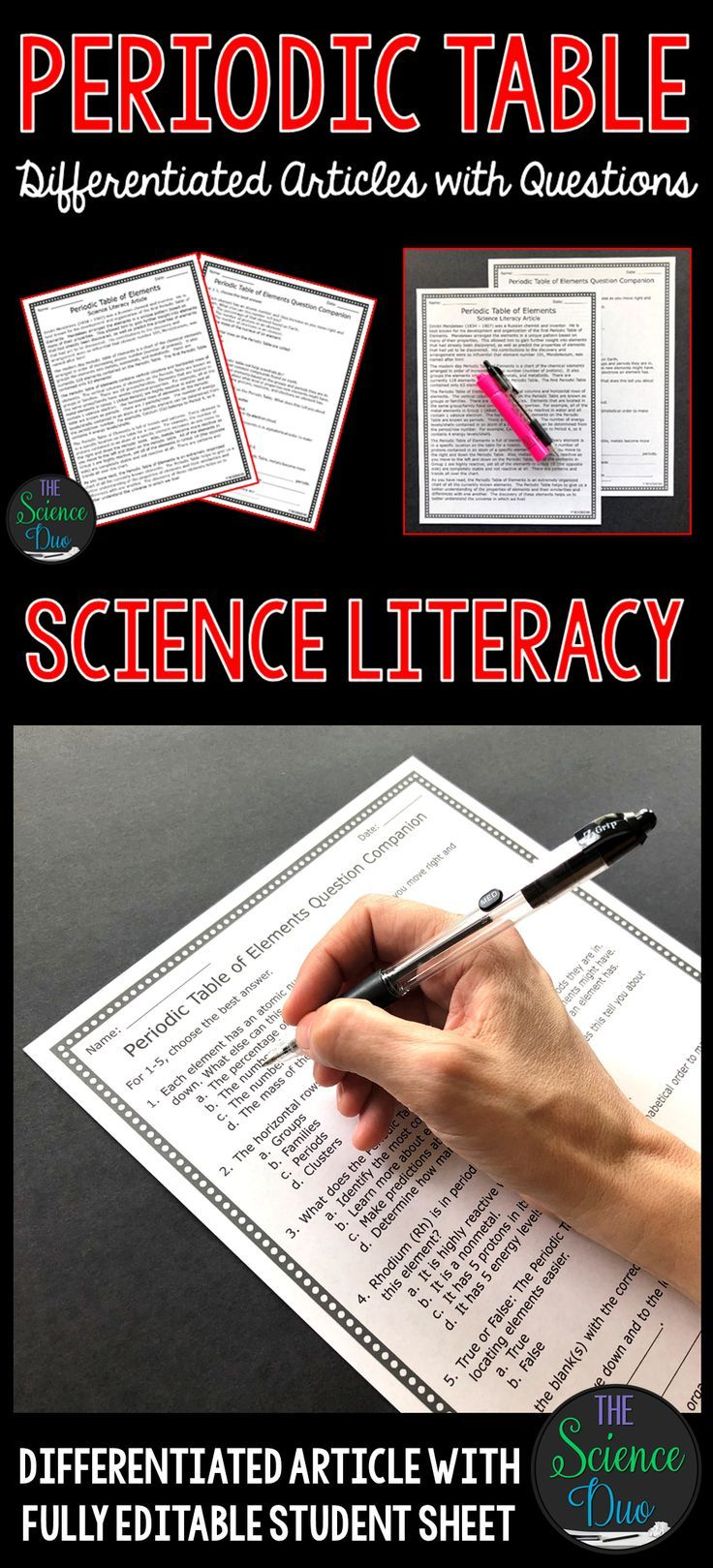 Periodic table of elements science literacy article tpt misc this periodic table of elements science literacy article will help to support important science content and urtaz Images