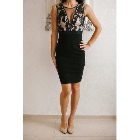 Czarna ołówkowa sukienka wieczorowa midi z głębokim dekoltem z cekinami i siateczką