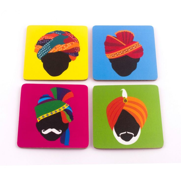 From traditional Rajasthani turbans to the bright red one sported by our childhood hero- ChachaChoudhary; turbans have been an intricate part of the Indian man's pride. A set of four coasters, with different turbans on them, splashed with a beautiful choice of colours. Get these to add the Indian touch to your home.