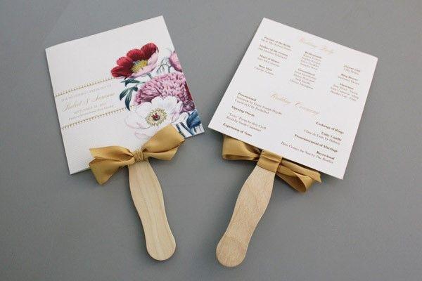 DIY: Pretty Blooms Wedding Program Paddle Fan