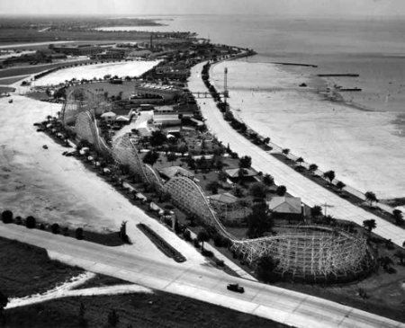 Pontchartrain Beach Amusement Park in the 1940s. The main attraction was the Zephyr Roller-coaster