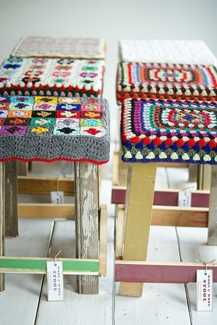 granny square barstools - while I don't totally like these stools, I wonder about covering stools I don't like with a cover I do.  Spend my winter crocheting?