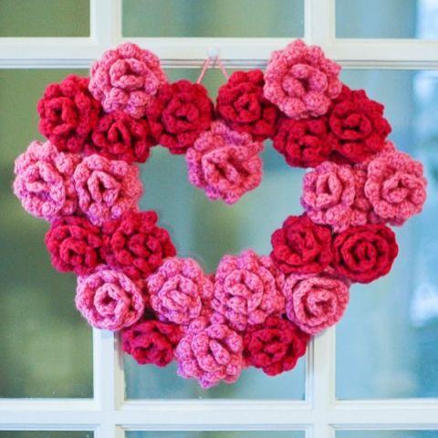 Crochet Flower Heart Wreath