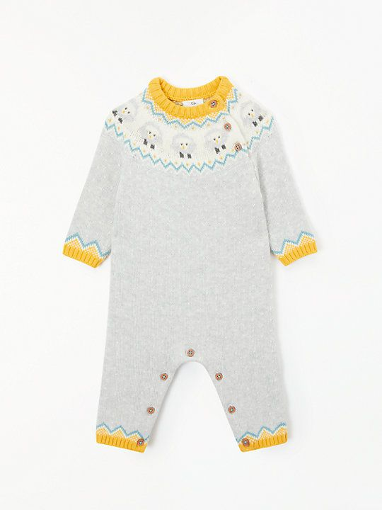 c0558766e341 John Lewis & Partners Baby Footless Knitted Sheep Romper, Grey ...