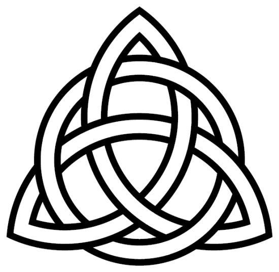 La triquetra ancien symbole Celte qui représentait la triple divinité : la mère, la fille et l'aïeule. La triquetra est faite d'une seule et même ligne qui forme trois ovales liés en leur centre par un cercle . Chez les adeptes de la sorcellerie, la triquetra représente la vie, la mort et la renaissance des trois forces de la Nature : l'Eau, la Terre et l'Air. Le cercle interne, lui, représente la féminité et la fertilité. C'est en fait un symbole de puissance et de magie.