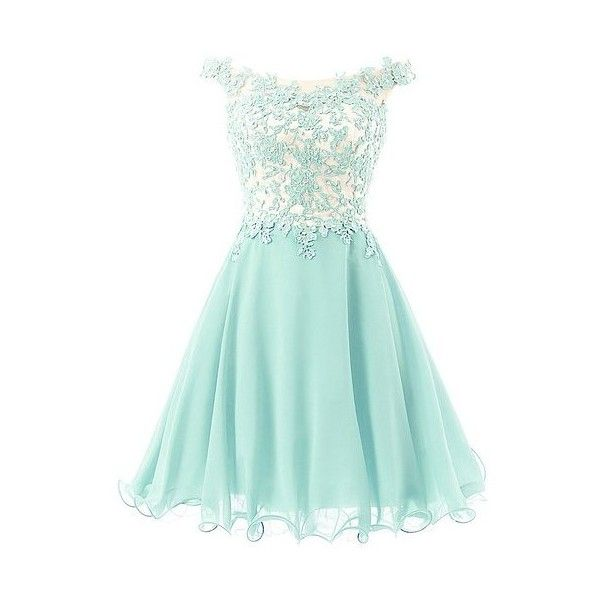 FNKS Women's Straps Lace Bodice Short Prom Gown Homecoming Party... ($96) ❤ liked on Polyvore featuring dresses, short prom dresses, lace homecoming dresses, green lace cocktail dress, lace dress and homecoming dresses