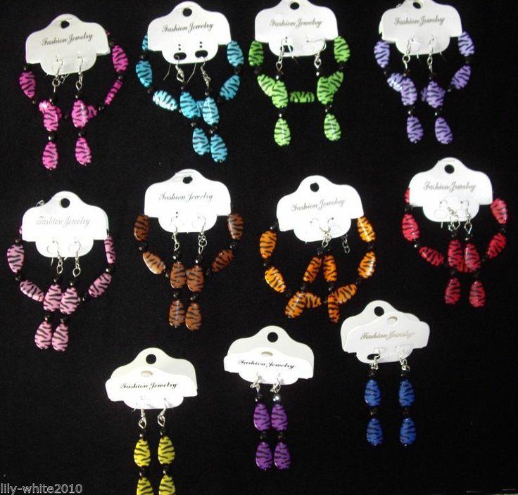 80s Fancy Dress - Zebra Print Bracelet & Earrings Set 11 Colours to Choose From
