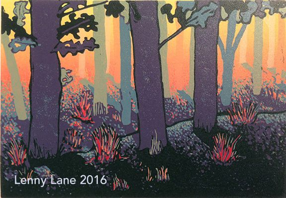 August An 8 colour reduction lino print. Limited edition of 19. Ask about my 'less than perfect' prints from this edition …fantastic discounts available.