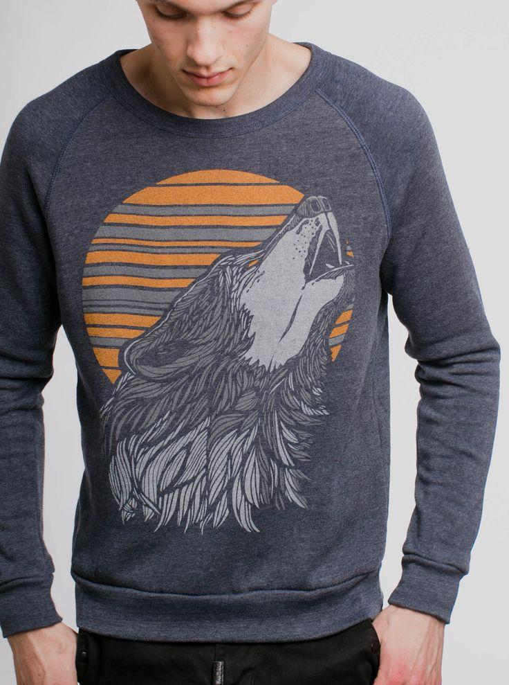Wolf - Multicolor on Heather Navy Men's Sweatshirt - Curbside Clothing