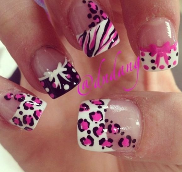 Black pink white french style tips animal print leopard dots zebra stripe polka dots bows ribbons free hand nail art I usually don  39 t like when too much is going on 1 set of nails but this works