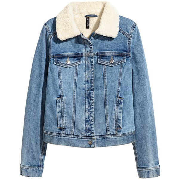 Pile-lined Denim Jacket $69.99 ($70) ❤ liked on Polyvore featuring outerwear, jackets, sweatter, blue jackets, flap jacket, zippered denim jacket, collar jacket and button jacket
