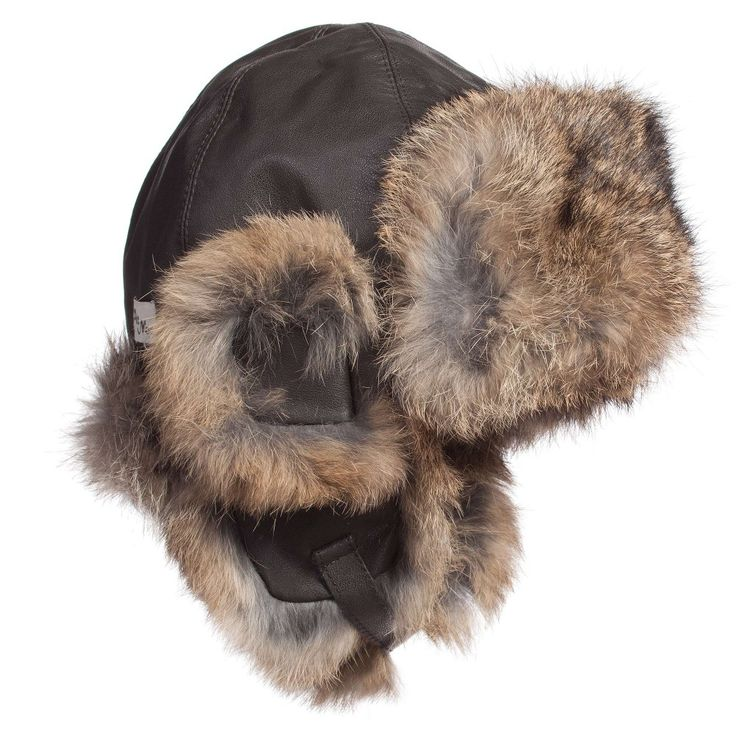 Brown Leather Hat with Fur Trim, Petit Nord