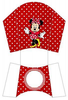 Cajas para imprimir gratis de Minnie Mouse, en rojo.
