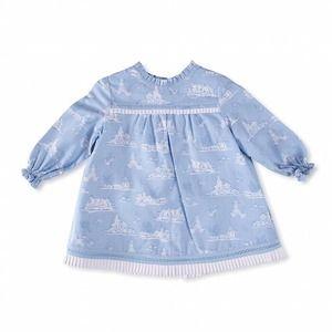 【Baby】出産祝いに ベビーワンピース ライトブルー ニャコ  #キッズファッション #ベビーファッション #スペインブランド#ブラウス #ニャコ