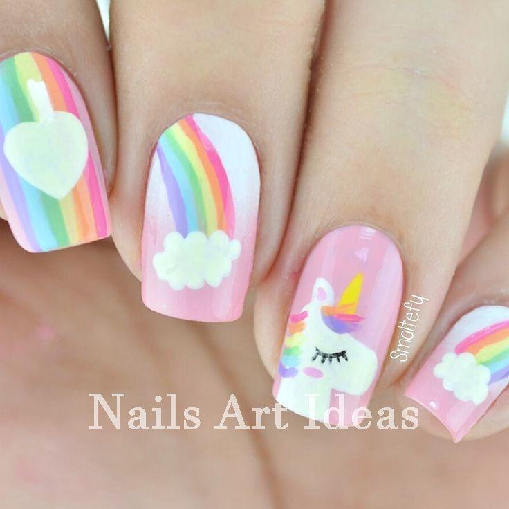 Beautiful And Colorful Art Designs For Short Nails Nailsart Diynail Kids Nail Designs Unicorn Nail Art Unicorn Nails Designs